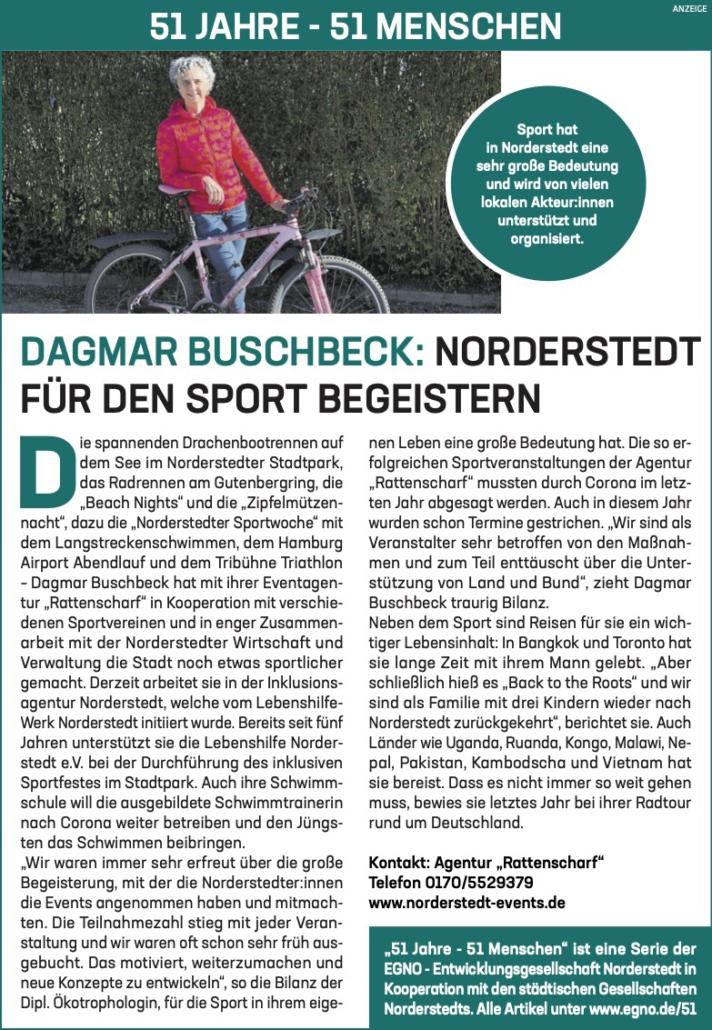 Dagmar Buschbeck: Norderstedt für den Sport begeistern