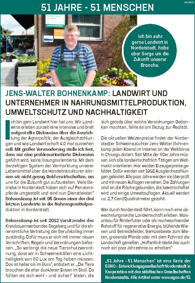 Jens-Walter Bohnenkamp: Landwirt und Unternehmer in Nahrungsmittelproduktion, Umweltschutz und Nachhaltigkeit