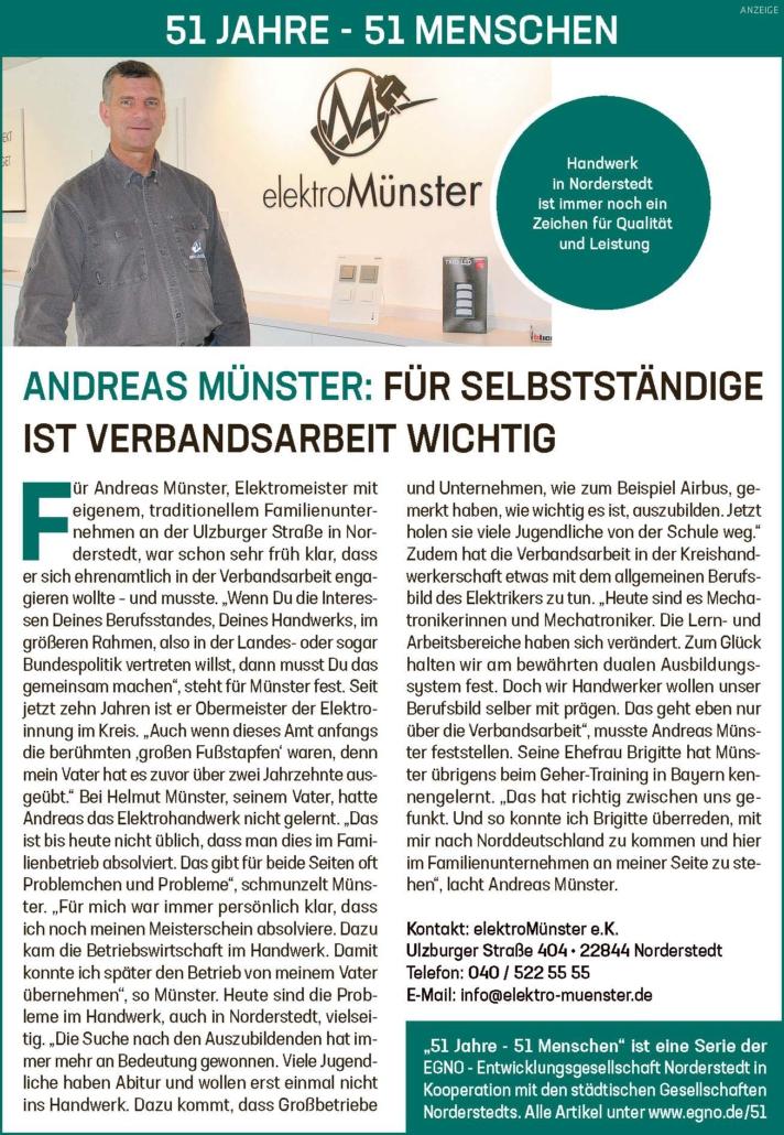 Andreas Münster: Für Selbstständige ist Verbandsarbeit wichtig