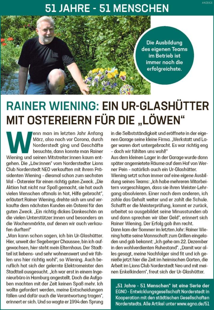 """Rainer Wiening: Ein Ur-Glashütter mit Ostereiern für die """"Löwen"""""""