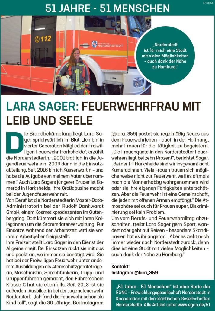 Lara Sager: Feuerwehrfrau mit Leib und Seele