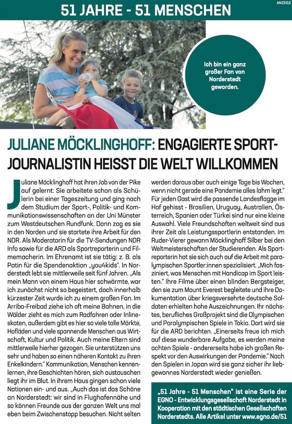 Juliane Möcklinghoff: Engagierte Sport-Journalistin heisst die Welt Willkommen