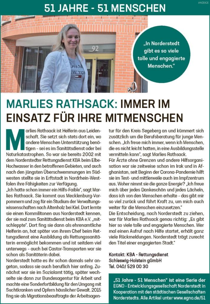 Marlies Rathsack: Immer im Einsatz für ihre Mitmenschen