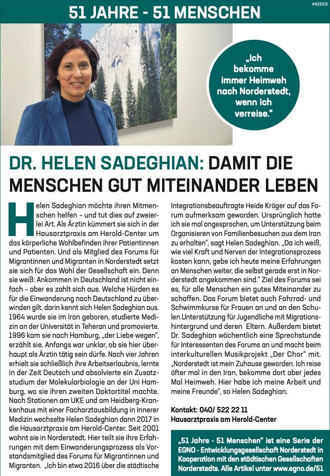 Dr Helen Sadeghian: Damit die Menschen gut miteinander leben