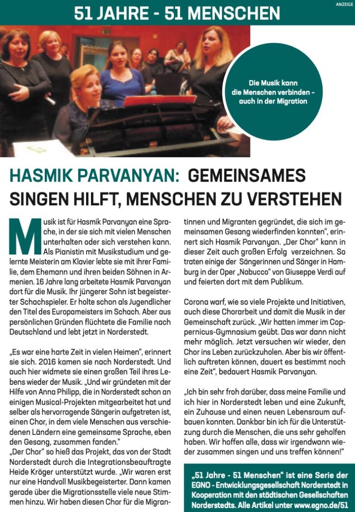 Hasmik Parvanyan: Gemeinsames singen hilft, Menschen zu verstehen